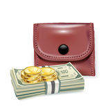 Leather wallet with money and coins Stock Images