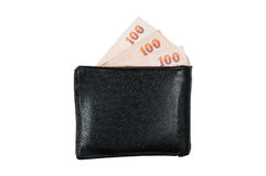 Leather wallet with money inside Stock Image