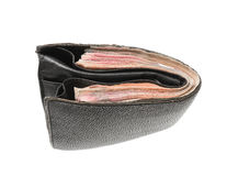 Leather wallet with money Royalty Free Stock Image