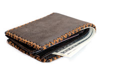 Leather wallet. Money in leather purse on a white background Stock Photos