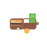 Leather wallet with money. Vector illustration purse Royalty Free Stock Image