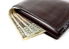 Leather Wallet with Money on White Stock Images