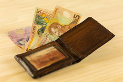 Leather wallet with New Zealand bills Royalty Free Stock Photo