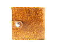 Leather wallet. Old leather wallet isolated over white Stock Image