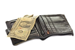 Leather wallet with one dollar Stock Images