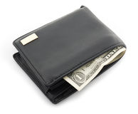Leather wallet with a one dollar Royalty Free Stock Images