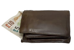 Leather wallet with a pounds. Isolated on white leather wallet with clipping path Royalty Free Stock Photo