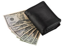 Leather wallet with some dollars Royalty Free Stock Photography