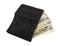 Leather wallet with some dollars Stock Photo