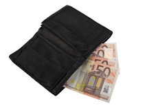 Leather wallet with some euros Stock Photography