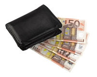 Leather wallet with some euros Stock Images