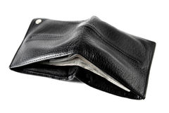 Leather wallet stuffed with cash Royalty Free Stock Images
