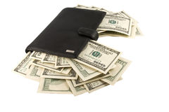 Leather Wallet With Money. Royalty Free Stock Photography