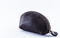 Leather wallet. With zipper isolated on white background Royalty Free Stock Photography