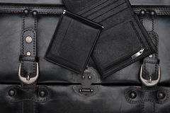 Leather wallets on the black background Stock Photo
