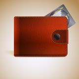 Leather wallets with credit card Royalty Free Stock Photography