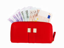 Leather wallets and European Currency, euro Royalty Free Stock Photography