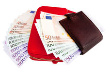 Leather wallets and European Currency, euro Royalty Free Stock Images