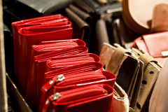 Leather wallets for sale Royalty Free Stock Photography