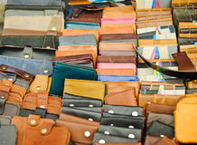 Leather wallets for sale at the market place Royalty Free Stock Image