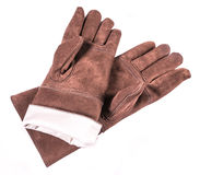 Leather welders gloves. Close up of a brown leather welders gloves Royalty Free Stock Image