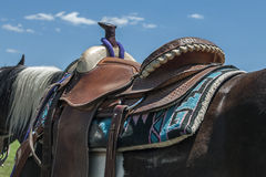 leather western horse saddle Royalty Free Stock Photo