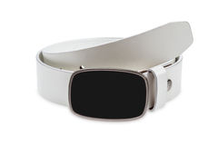Leather white belt with black buckle Stock Image