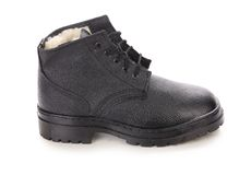 Leather winter black boot. Stock Photo
