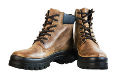 Leather winter boot Stock Images
