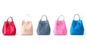Leather women handbags isolated on white background Royalty Free Stock Image