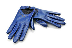 Leather women's gloves. On white background Stock Images