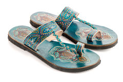 Leather women sandals. Of ethnic design from India royalty free stock images