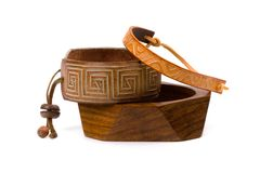 Leather and wooden bracelets Stock Photo