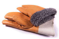 Leather work gloves pair. For winter Royalty Free Stock Photography