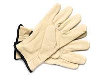 Leather Work Gloves. On White Royalty Free Stock Image