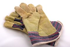 Leather working gloves Stock Photo
