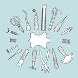 Leather working tools vector illustration Stock Image