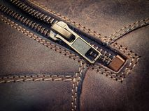 Leather zipper Stock Image