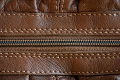 Leather with zipper texture (close up) Royalty Free Stock Photos