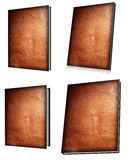 Leatherbound book set. Leather bound blank book covers, various angles, clipping path stock illustration