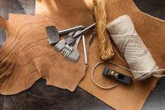 Leathercraft工具 免版税库存图片