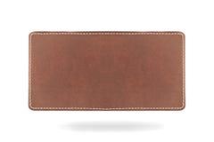 Leatherlabel op witte achtergrond met bodemshado royalty-vrije stock afbeeldingen