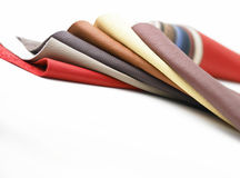 Leathers in various colors. Bended together Stock Photo