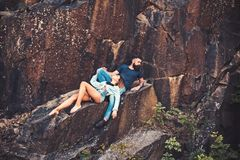 Leave all your worries behind. Sexy woman and bearded man on natural landscape. Couple enjoy love and romance. Couple in