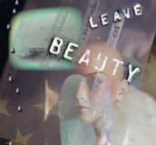 Leave the Beauty. Symbolic composition. Leave the Beauty. Mannequin head stock photo