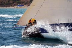 Volvo Ocean Race Team Clean Seas. After leave the city of Alicante teh Ocean 65 sailboats turn the first cape in the race, the Cape of Santa Pola working hard Stock Photo