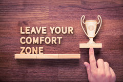 Leave comfort zone. Leave your comfort zone, personal development, motivation and challenge concepts royalty free stock photos