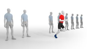Leave the Crowd. 3D rendering Royalty Free Stock Photography