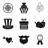 Leave date icons set, simple style Stock Image