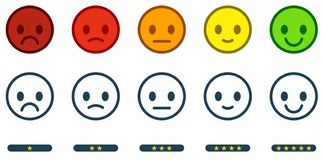 Leave feedback. Satisfaction scale with color smileys buttons an royalty free illustration